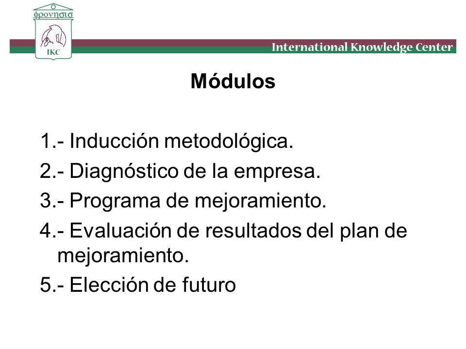 Módulos 1.- Inducción metodológica. 2.- Diagnóstico de la empresa. 3.- Programa de mejoramiento.