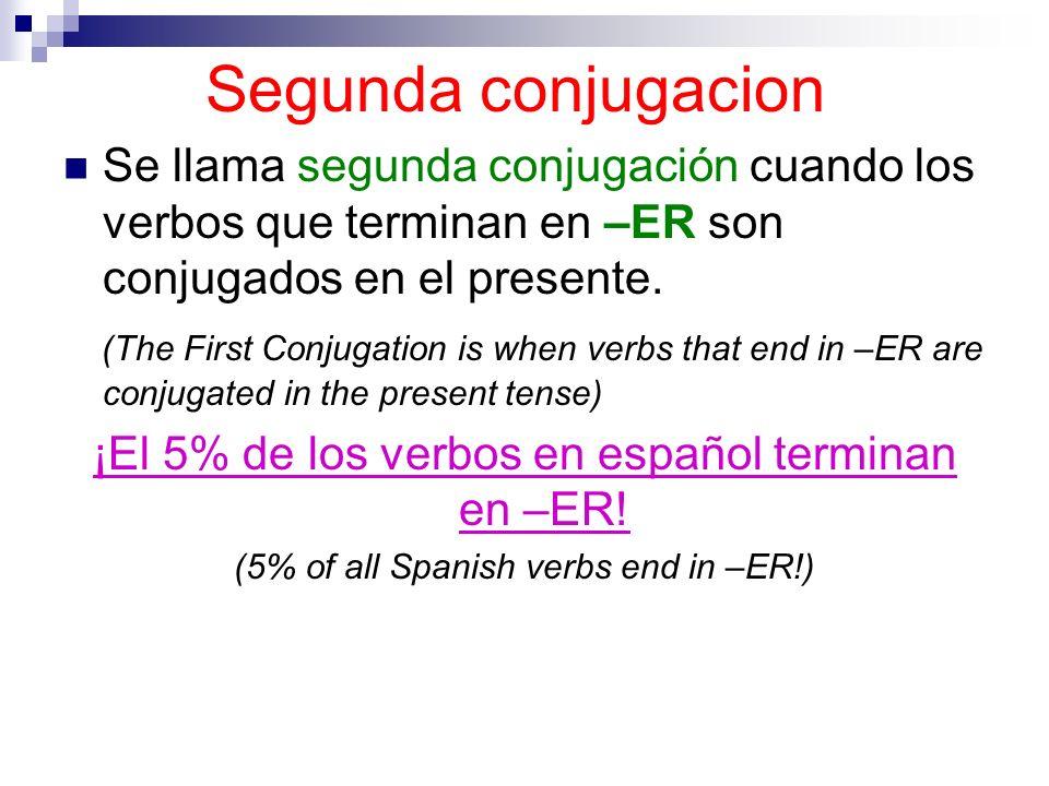 Segunda conjugacion Se llama segunda conjugación cuando los verbos que terminan en –ER son conjugados en el presente.