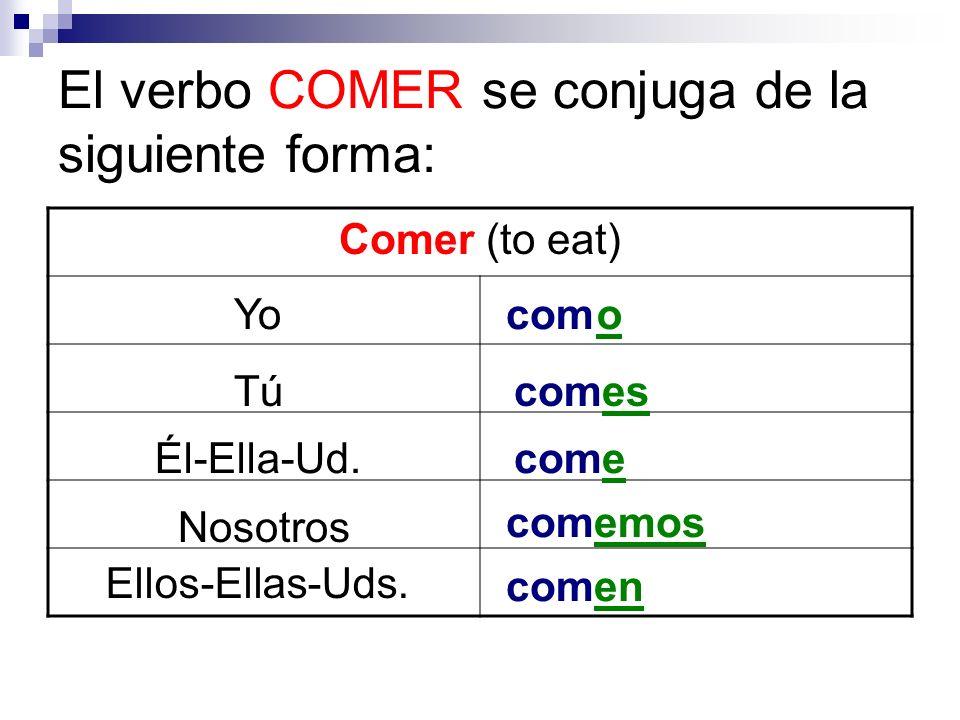 El verbo COMER se conjuga de la siguiente forma: