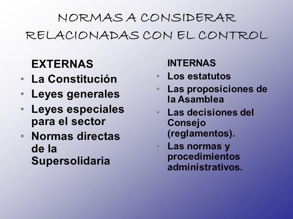 NORMAS A CONSIDERAR RELACIONADAS CON EL CONTROL