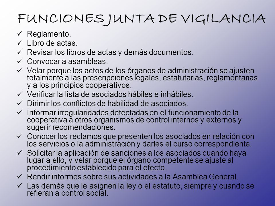 FUNCIONES JUNTA DE VIGILANCIA