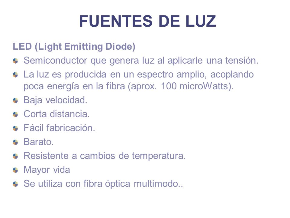 FUENTES DE LUZ LED (Light Emitting Diode)