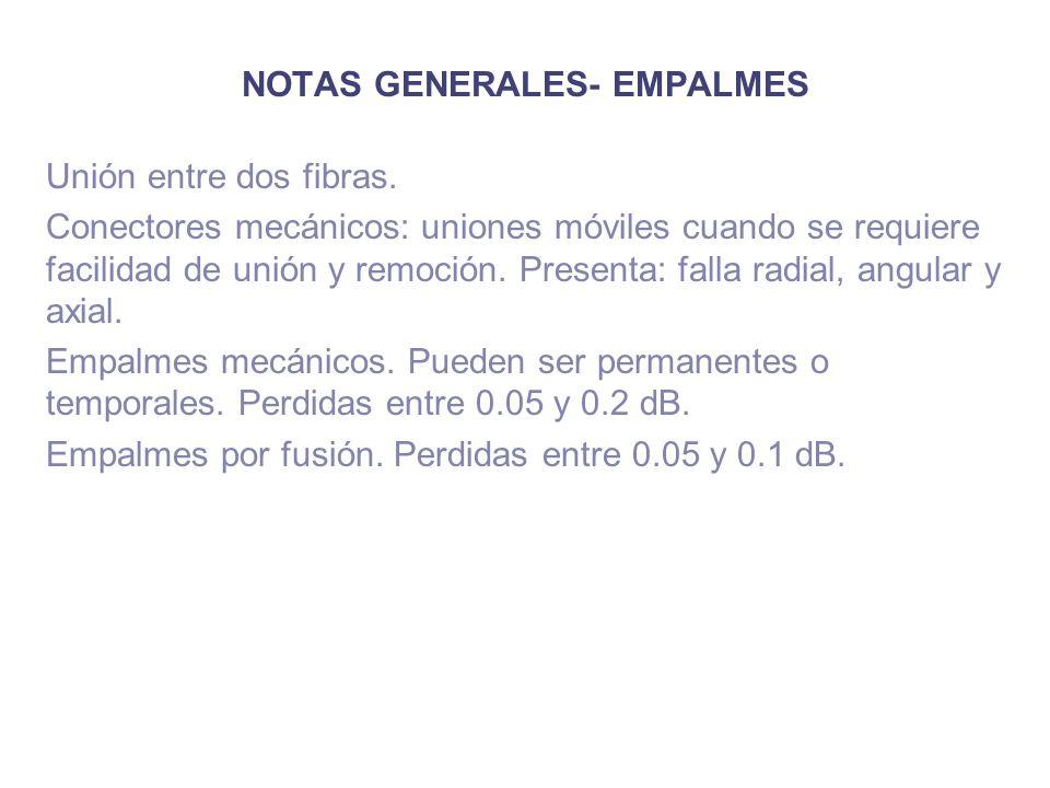 NOTAS GENERALES- EMPALMES