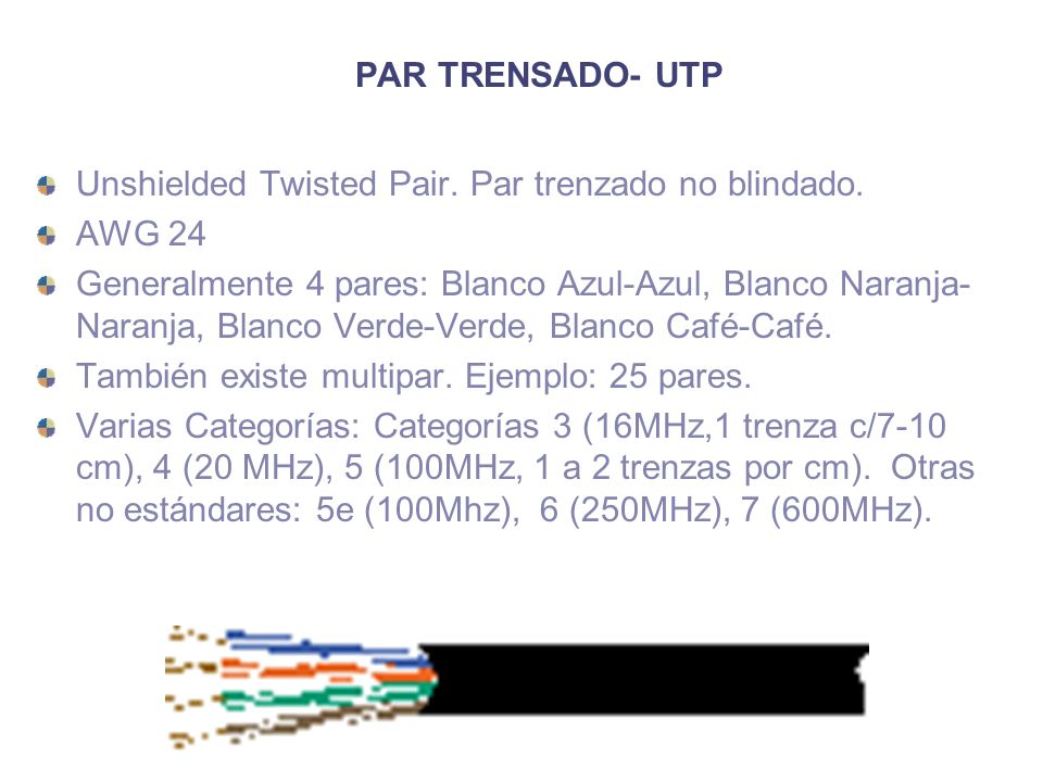 PAR TRENSADO- UTP Unshielded Twisted Pair. Par trenzado no blindado. AWG 24.