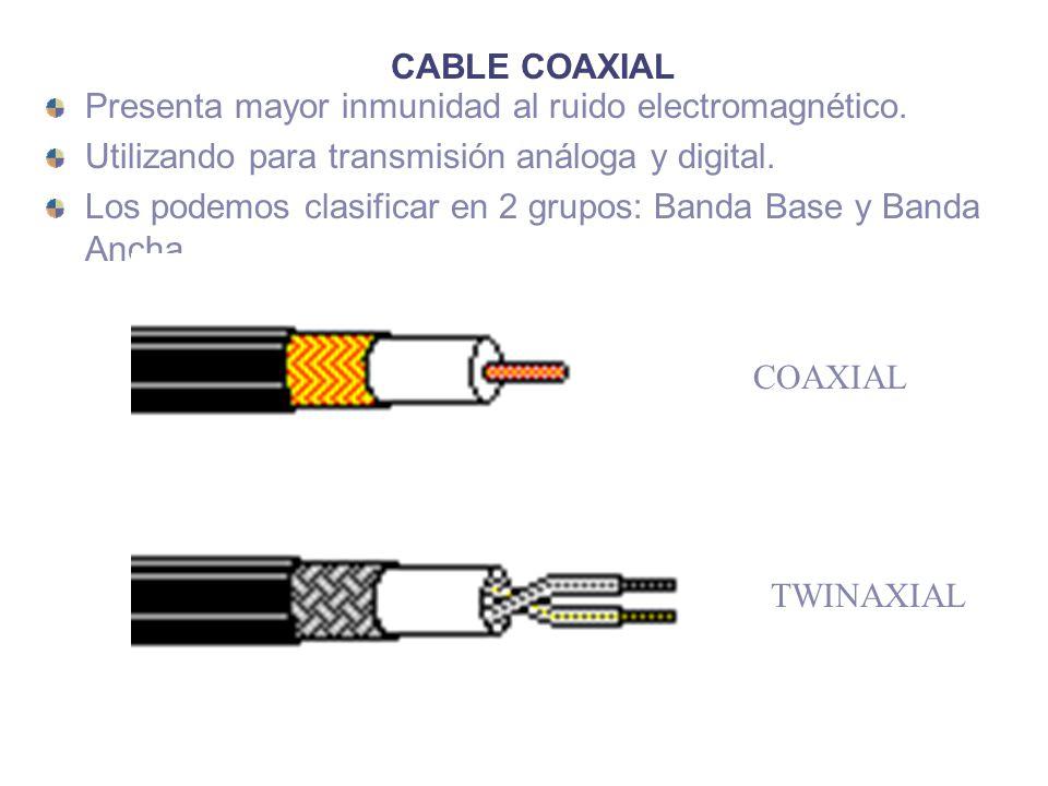 CABLE COAXIAL Presenta mayor inmunidad al ruido electromagnético. Utilizando para transmisión análoga y digital.