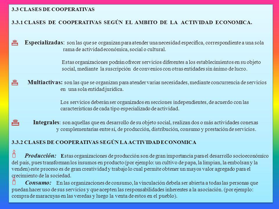 3.3 CLASES DE COOPERATIVAS