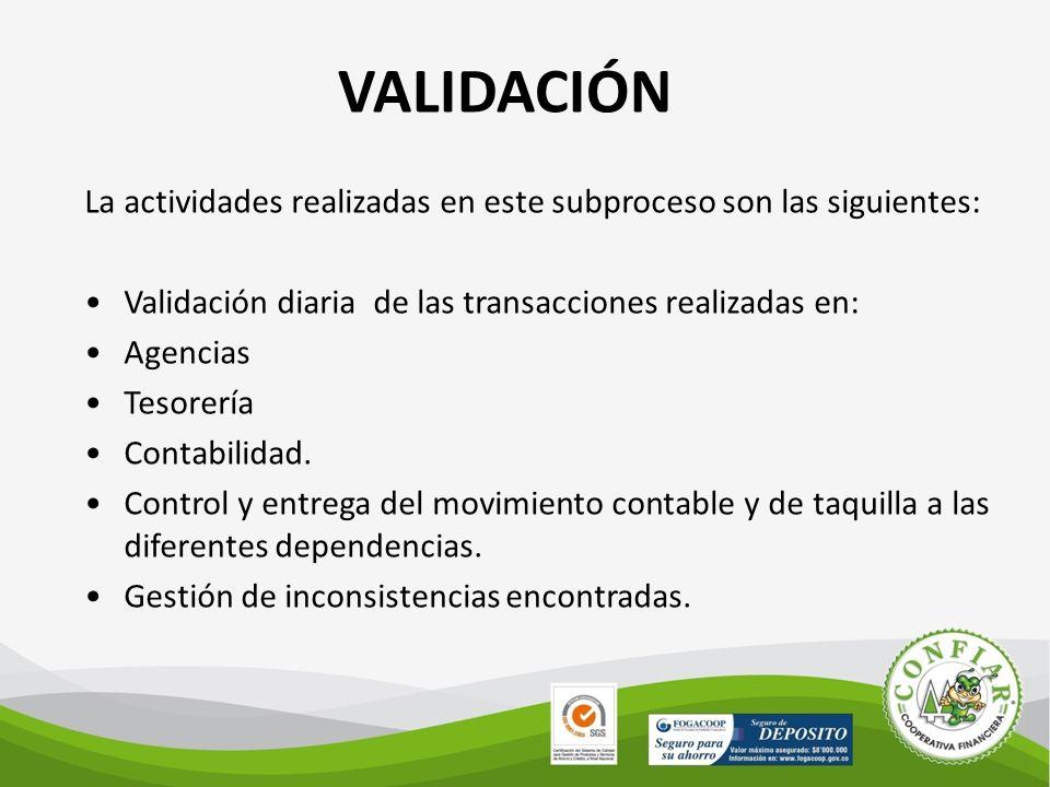 VALIDACIÓN La actividades realizadas en este subproceso son las siguientes: Validación diaria de las transacciones realizadas en: