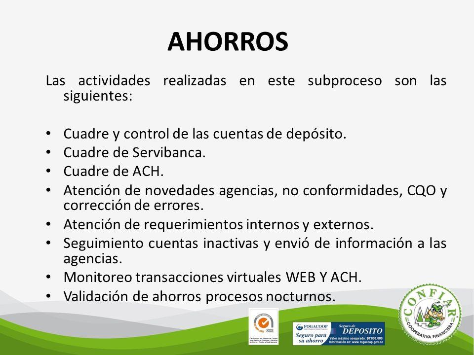 AHORROS Las actividades realizadas en este subproceso son las siguientes: Cuadre y control de las cuentas de depósito.