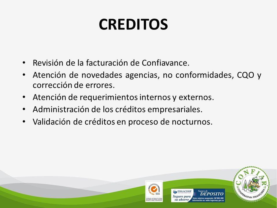 CREDITOS Revisión de la facturación de Confiavance.