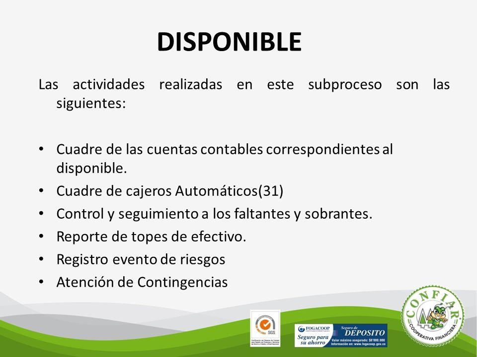 DISPONIBLE Las actividades realizadas en este subproceso son las siguientes: Cuadre de las cuentas contables correspondientes al disponible.