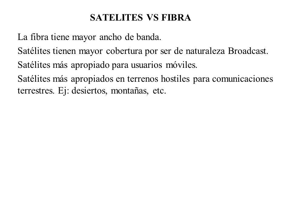 SATELITES VS FIBRA La fibra tiene mayor ancho de banda. Satélites tienen mayor cobertura por ser de naturaleza Broadcast.