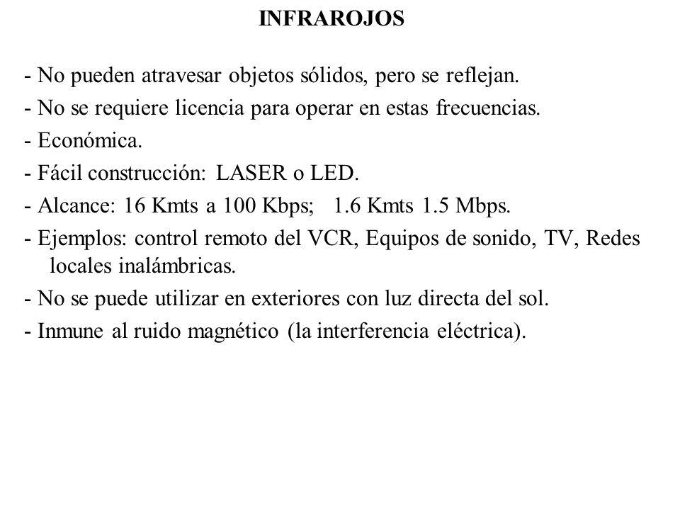 INFRAROJOS - No pueden atravesar objetos sólidos, pero se reflejan. - No se requiere licencia para operar en estas frecuencias.