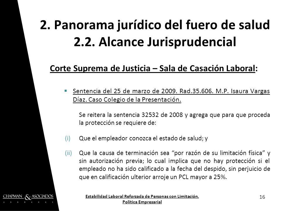 2. Panorama jurídico del fuero de salud 2.2. Alcance Jurisprudencial