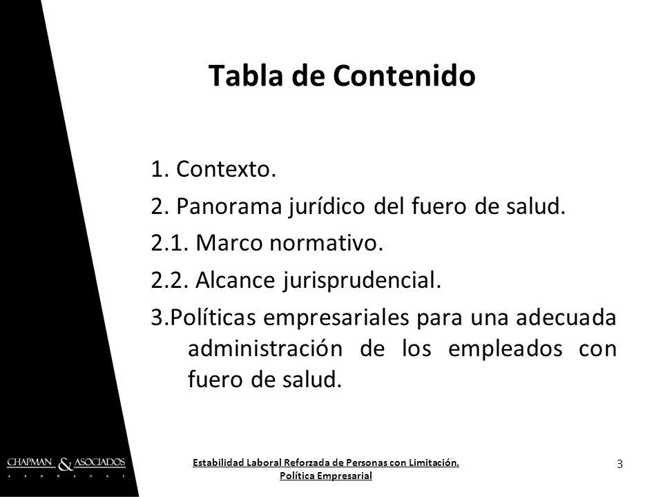 Tabla de Contenido 1. Contexto.