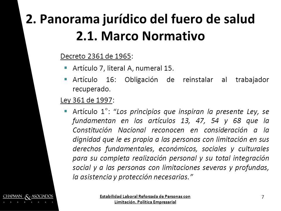 2. Panorama jurídico del fuero de salud 2.1. Marco Normativo