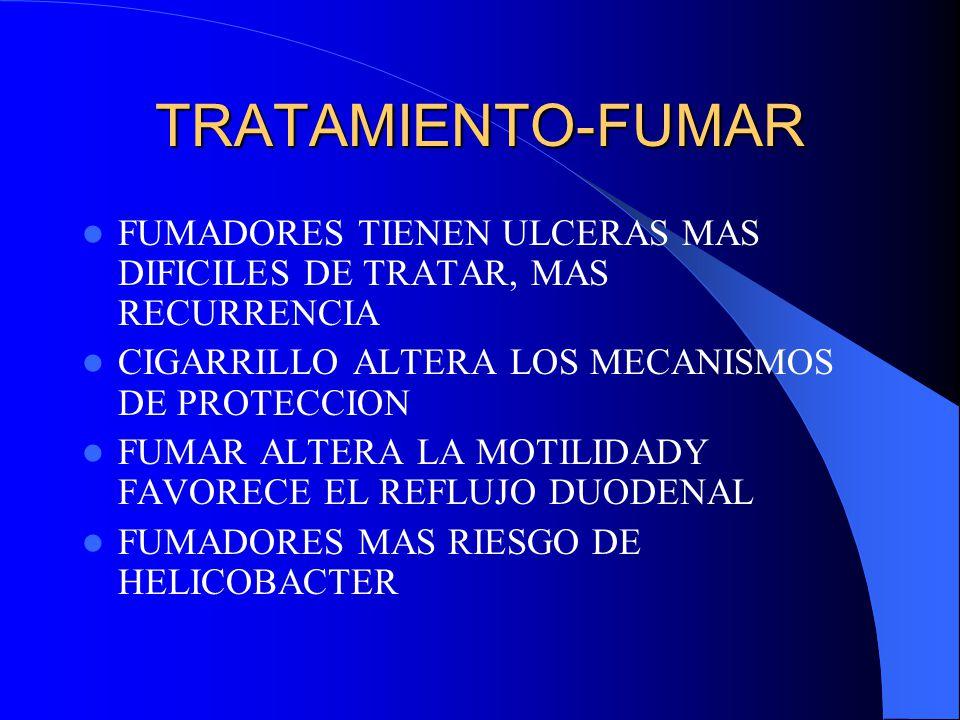 TRATAMIENTO-FUMAR FUMADORES TIENEN ULCERAS MAS DIFICILES DE TRATAR, MAS RECURRENCIA. CIGARRILLO ALTERA LOS MECANISMOS DE PROTECCION.