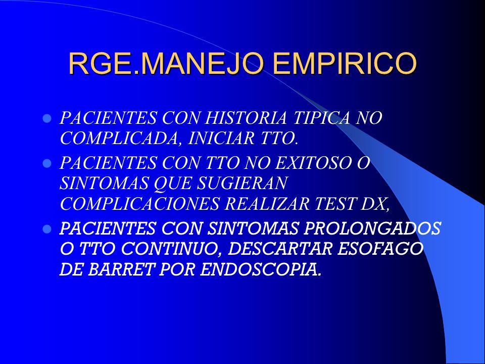 RGE.MANEJO EMPIRICO PACIENTES CON HISTORIA TIPICA NO COMPLICADA, INICIAR TTO.