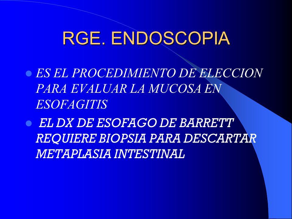 RGE. ENDOSCOPIA ES EL PROCEDIMIENTO DE ELECCION PARA EVALUAR LA MUCOSA EN ESOFAGITIS.