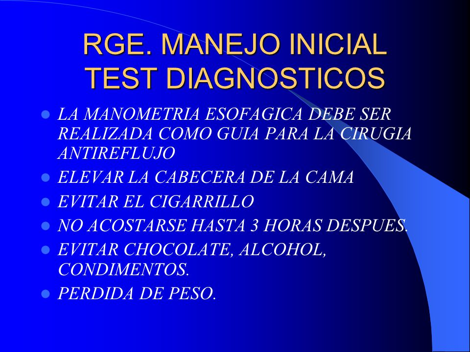 RGE. MANEJO INICIAL TEST DIAGNOSTICOS