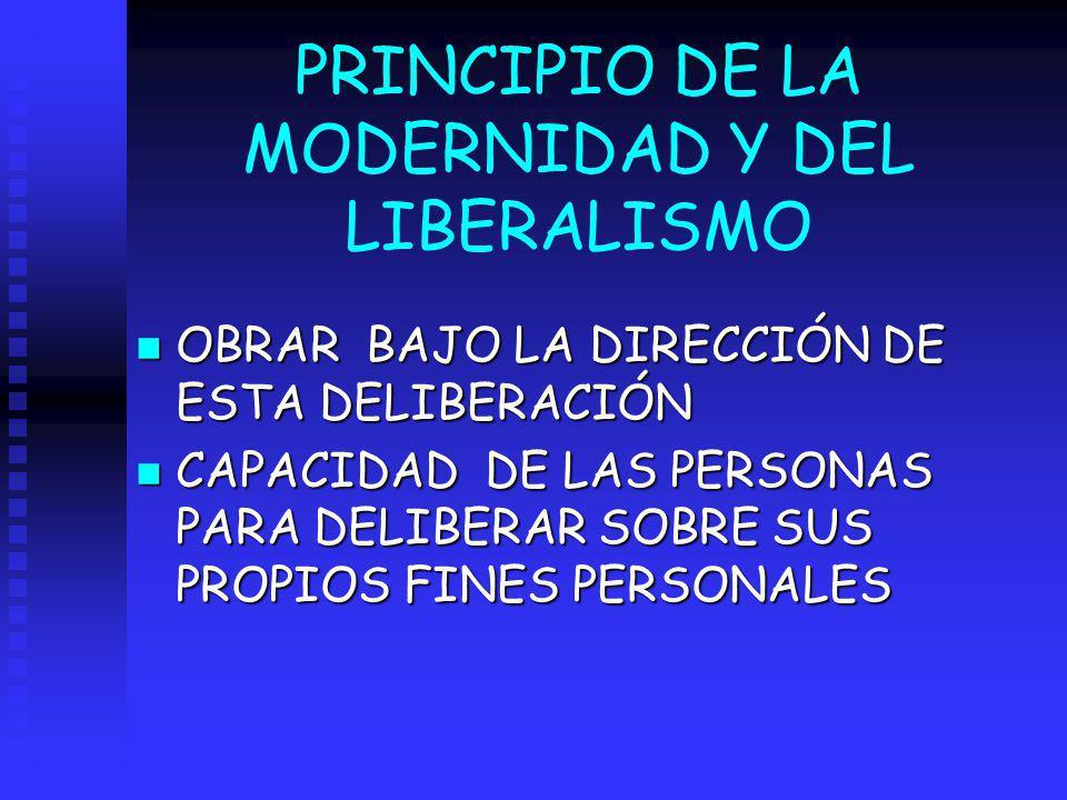 PRINCIPIO DE LA MODERNIDAD Y DEL LIBERALISMO