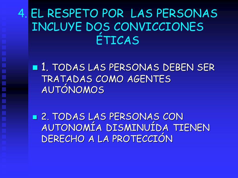 4. EL RESPETO POR LAS PERSONAS INCLUYE DOS CONVICCIONES ÉTICAS