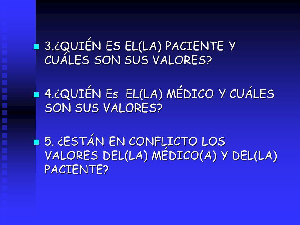3.¿QUIÉN ES EL(LA) PACIENTE Y CUÁLES SON SUS VALORES