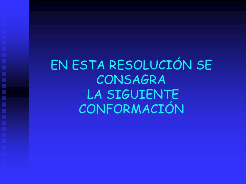EN ESTA RESOLUCIÓN SE CONSAGRA LA SIGUIENTE CONFORMACIÓN