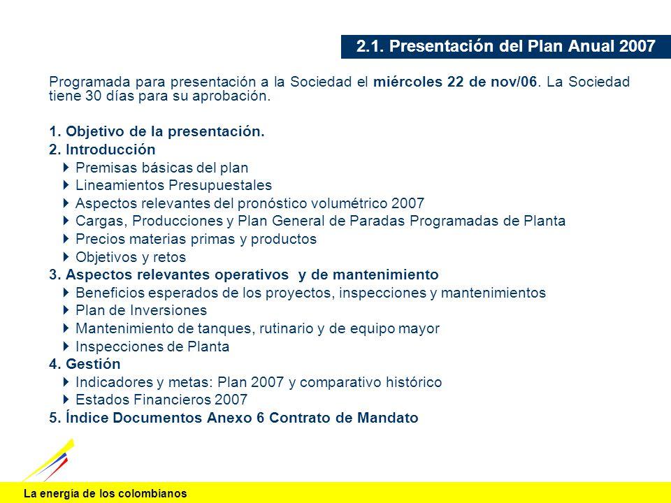 2.1. Presentación del Plan Anual 2007