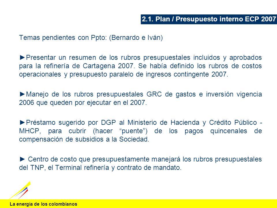 2.1. Plan / Presupuesto interno ECP 2007