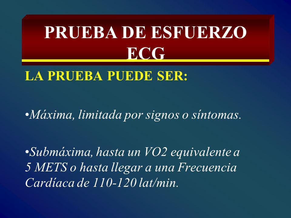 PRUEBA DE ESFUERZO ECG LA PRUEBA PUEDE SER: