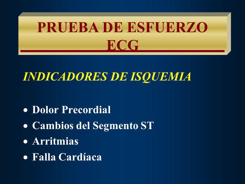 PRUEBA DE ESFUERZO ECG INDICADORES DE ISQUEMIA Dolor Precordial