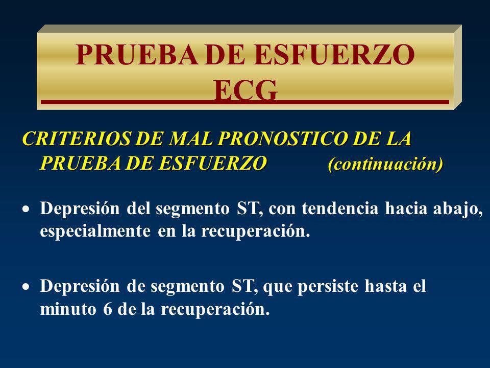 PRUEBA DE ESFUERZO ECG CRITERIOS DE MAL PRONOSTICO DE LA PRUEBA DE ESFUERZO (continuación)