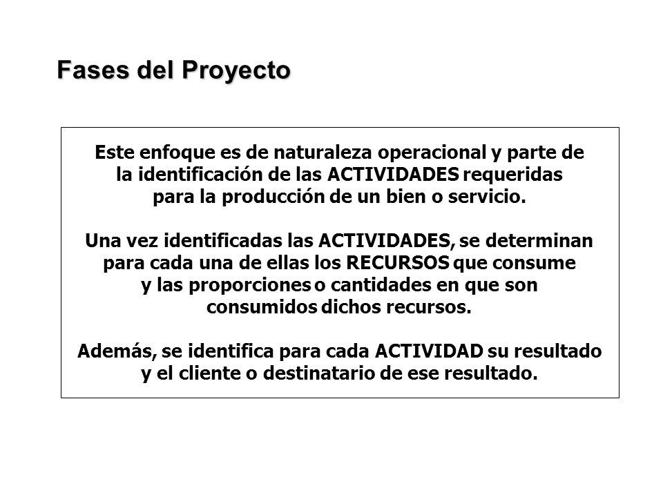 Fases del Proyecto Este enfoque es de naturaleza operacional y parte de. la identificación de las ACTIVIDADES requeridas.