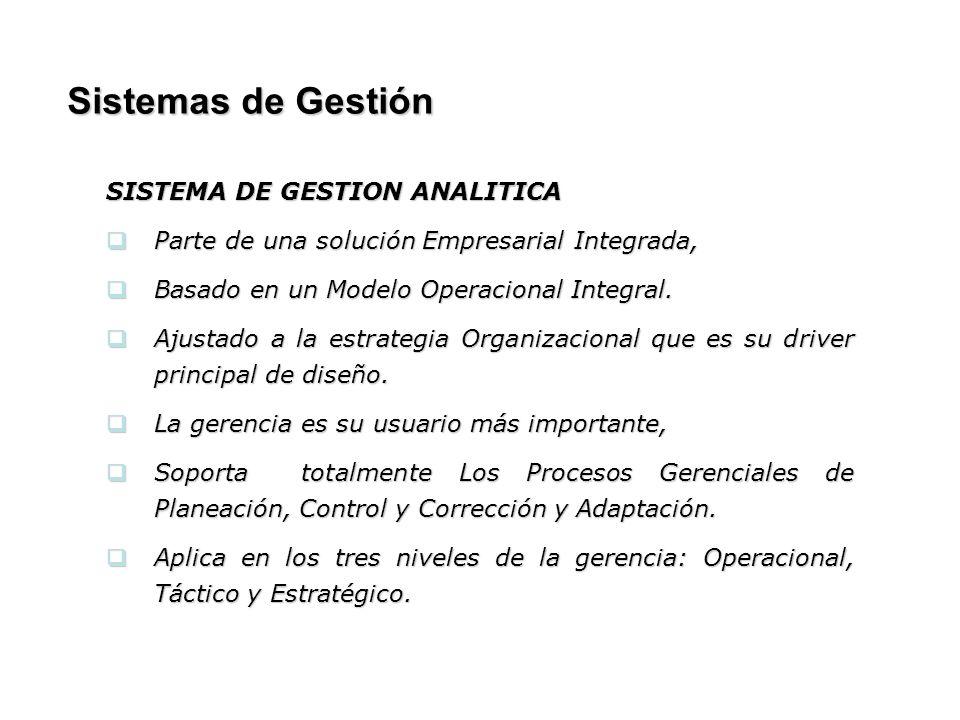 Sistemas de Gestión SISTEMA DE GESTION ANALITICA