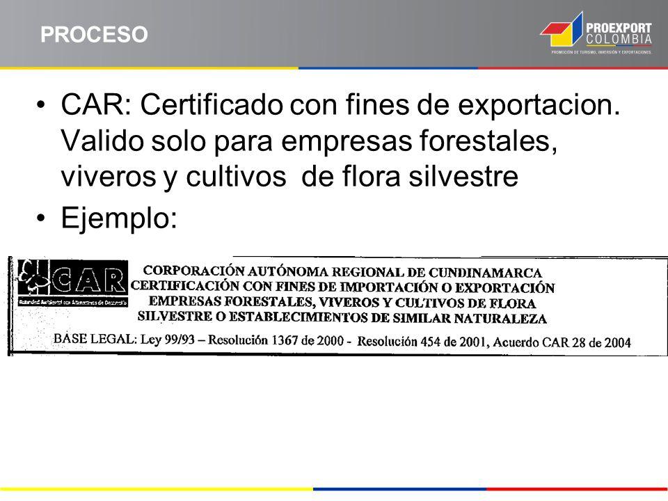 PROCESO CAR: Certificado con fines de exportacion. Valido solo para empresas forestales, viveros y cultivos de flora silvestre.