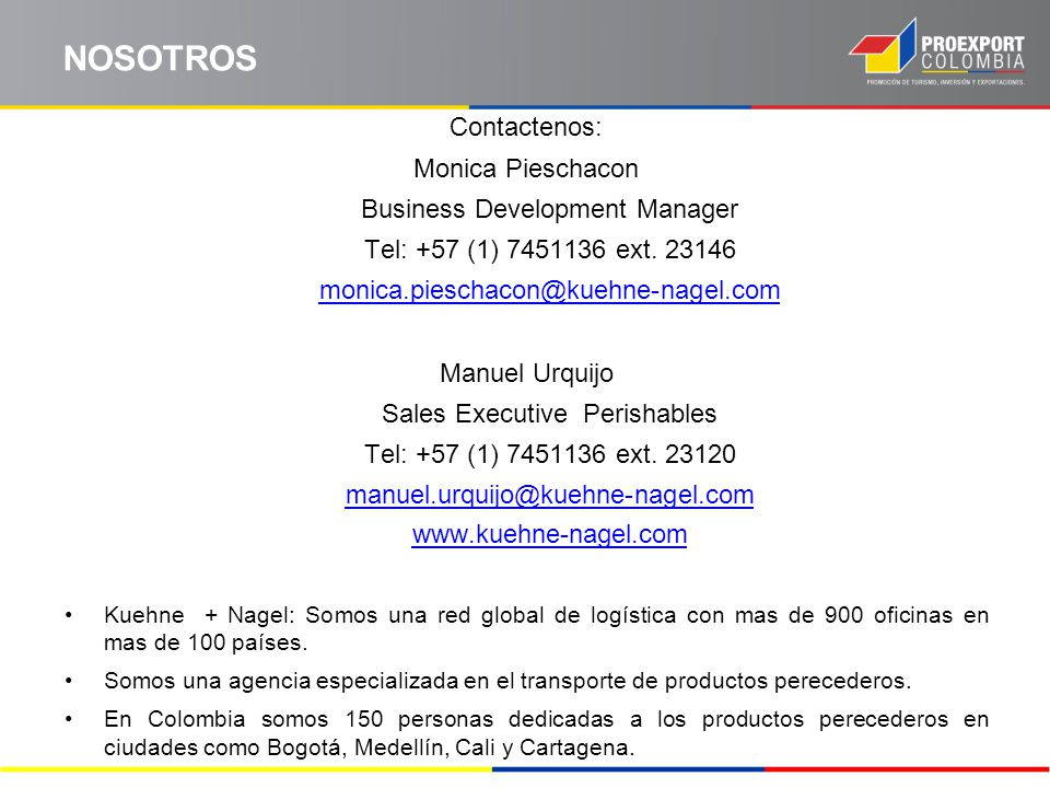NOSOTROS Contactenos: Monica Pieschacon Business Development Manager