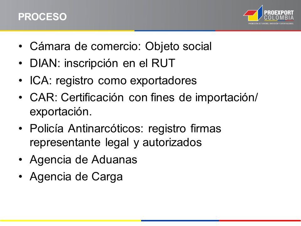 Cámara de comercio: Objeto social DIAN: inscripción en el RUT