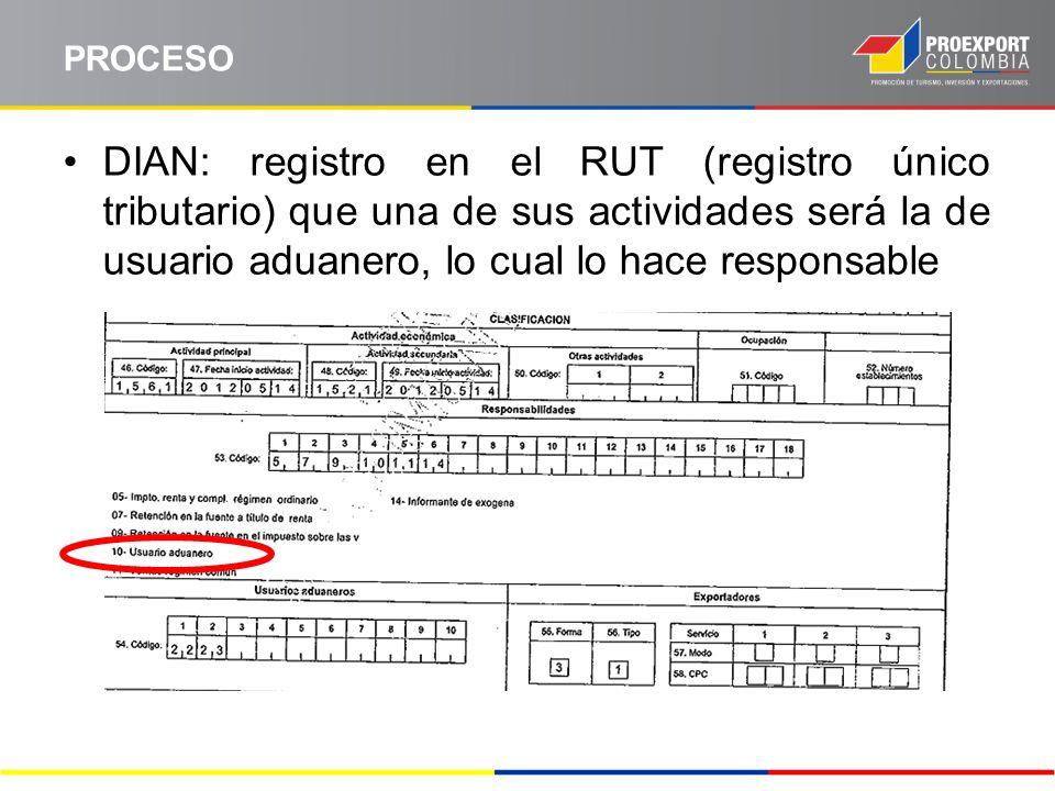 PROCESO DIAN: registro en el RUT (registro único tributario) que una de sus actividades será la de usuario aduanero, lo cual lo hace responsable.