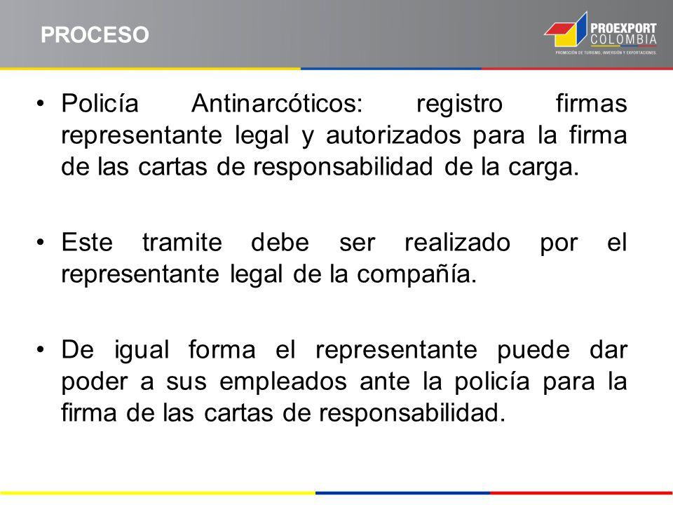 PROCESO Policía Antinarcóticos: registro firmas representante legal y autorizados para la firma de las cartas de responsabilidad de la carga.
