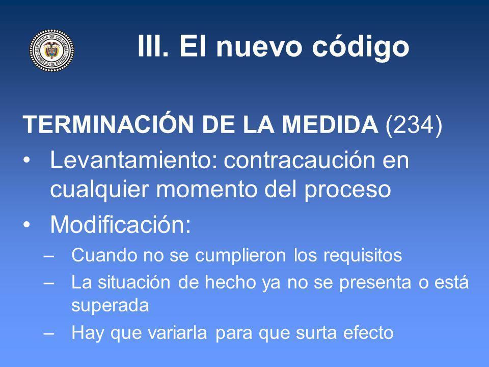 III. El nuevo código TERMINACIÓN DE LA MEDIDA (234)
