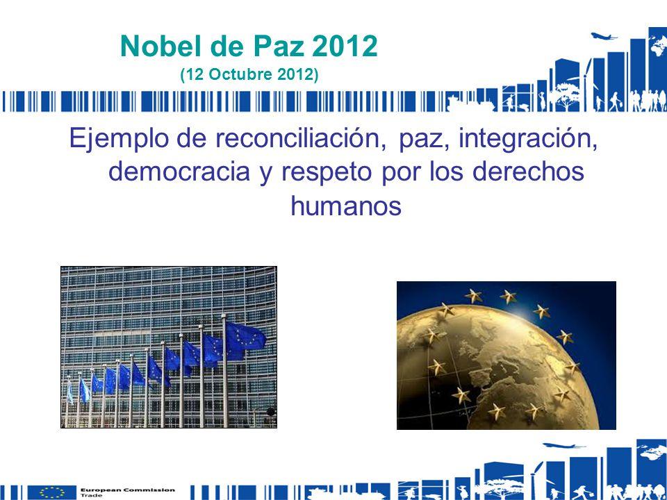 Nobel de Paz 2012 (12 Octubre 2012) Ejemplo de reconciliación, paz, integración, democracia y respeto por los derechos humanos.