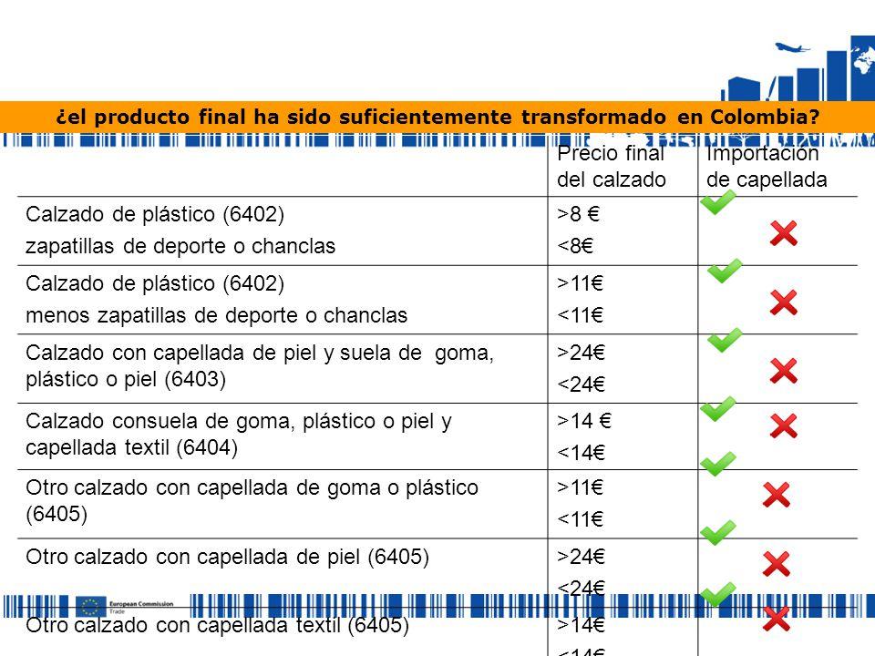 ¿el producto final ha sido suficientemente transformado en Colombia