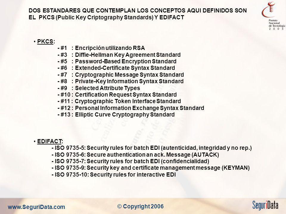 DOS ESTANDARES QUE CONTEMPLAN LOS CONCEPTOS AQUI DEFINIDOS SON EL PKCS (Public Key Criptography Standards) Y EDIFACT