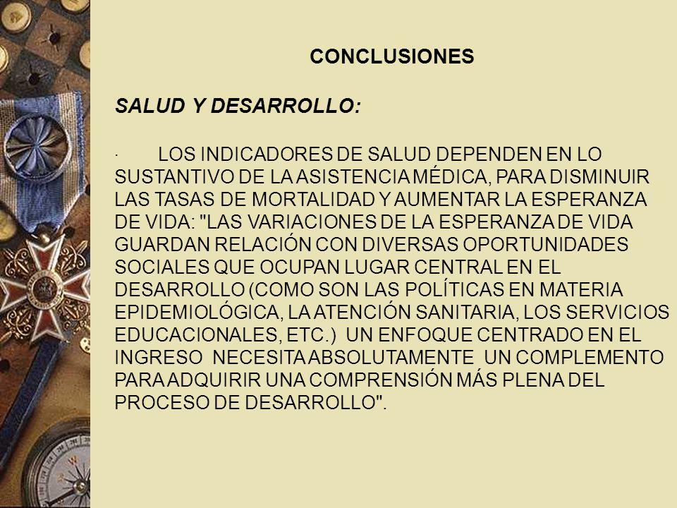 CONCLUSIONES SALUD Y DESARROLLO: