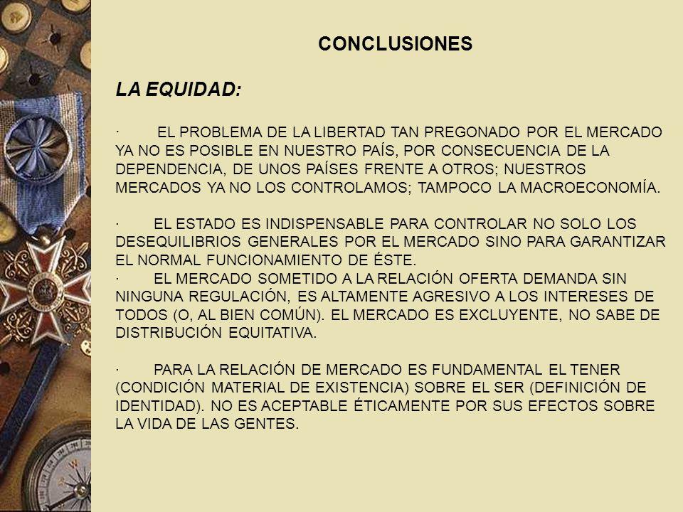 CONCLUSIONES LA EQUIDAD: