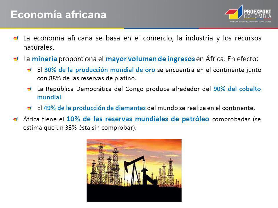 Economía africana La economía africana se basa en el comercio, la industria y los recursos naturales.