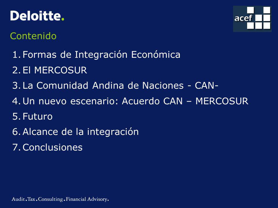 Contenido Formas de Integración Económica. El MERCOSUR. La Comunidad Andina de Naciones - CAN- Un nuevo escenario: Acuerdo CAN – MERCOSUR.