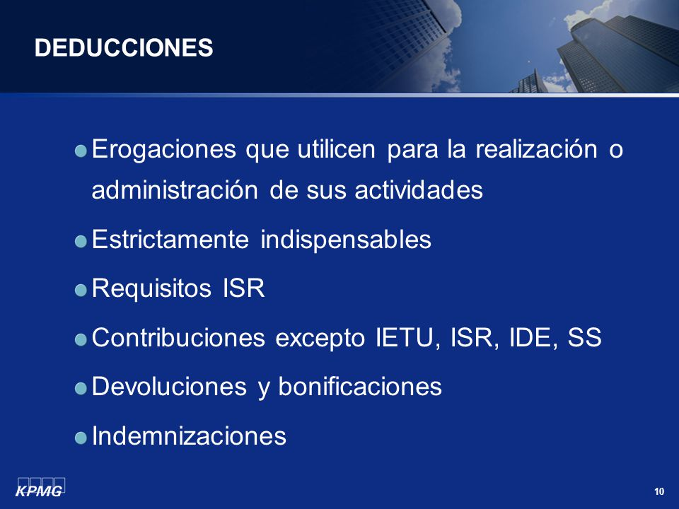 Estrictamente indispensables Requisitos ISR