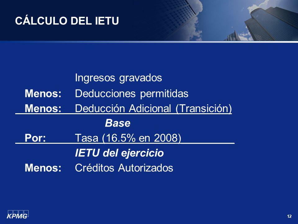 CÁLCULO DEL IETU Ingresos gravados Menos: Deducciones permitidas