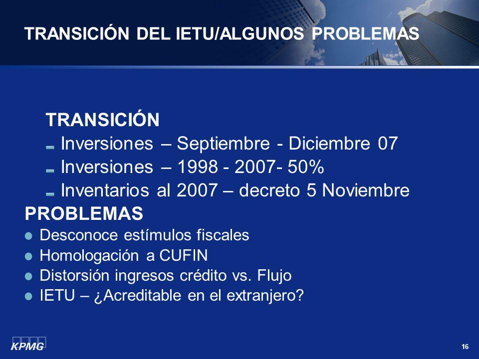 TRANSICIÓN DEL IETU/ALGUNOS PROBLEMAS